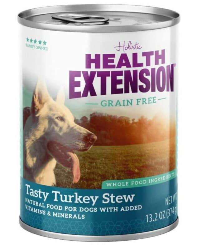 A can of Health Extension Dog Food